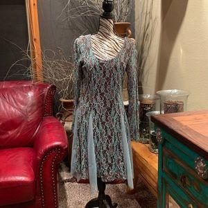 Areve Dresses - NWT • turquoise brown lace tutu dress
